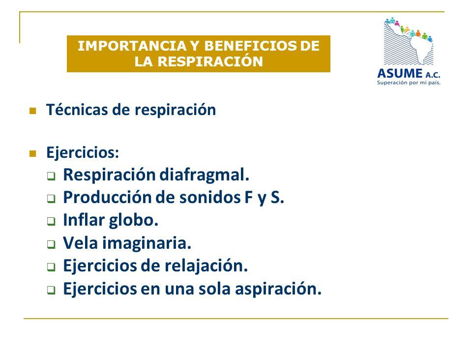IMPORTANCIA Y BENEFICIOS DE LA RESPIRACIÓN Técnicas de respiración Ejercicios: Respiración diafragmal. Producción de sonidos F y S. Inflar globo. Vela