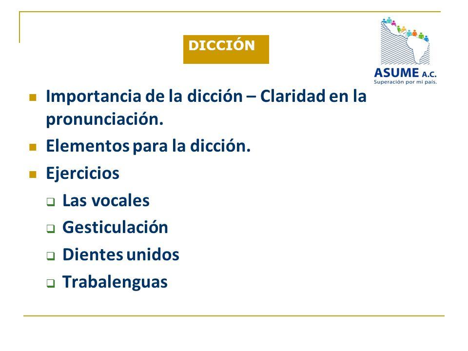 DICCIÓN Importancia de la dicción – Claridad en la pronunciación. Elementos para la dicción. Ejercicios Las vocales Gesticulación Dientes unidos Traba