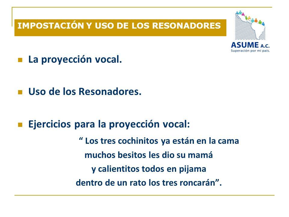 IMPOSTACIÓN Y USO DE LOS RESONADORES La proyección vocal. Uso de los Resonadores. Ejercicios para la proyección vocal: Los tres cochinitos ya están en