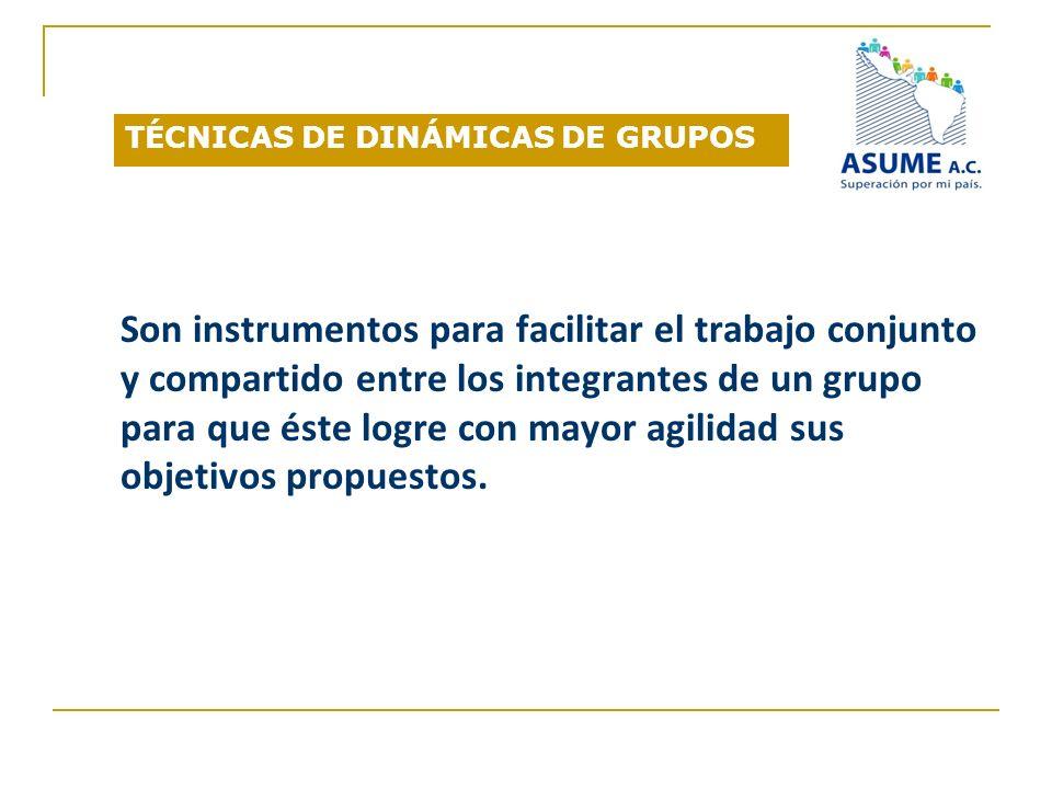 TÉCNICAS DE DINÁMICAS DE GRUPOS Son instrumentos para facilitar el trabajo conjunto y compartido entre los integrantes de un grupo para que éste logre