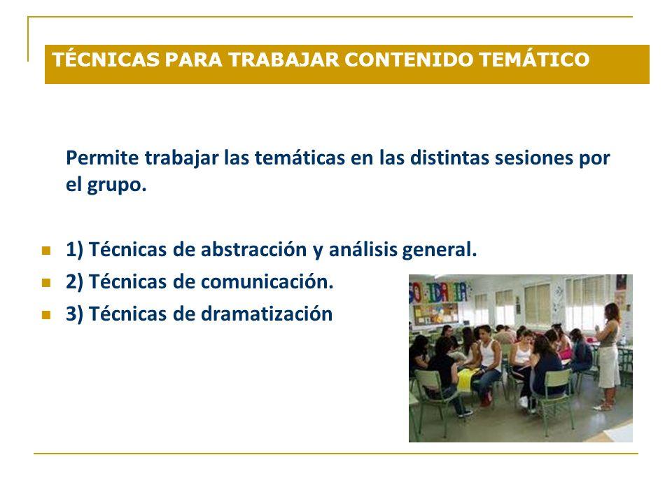 TÉCNICAS PARA TRABAJAR CONTENIDO TEMÁTICO Permite trabajar las temáticas en las distintas sesiones por el grupo. 1) Técnicas de abstracción y análisis