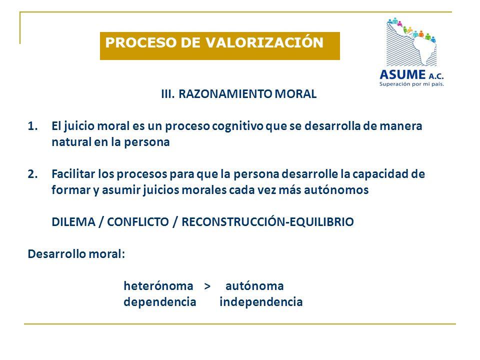 III. RAZONAMIENTO MORAL 1.El juicio moral es un proceso cognitivo que se desarrolla de manera natural en la persona 2.Facilitar los procesos para que