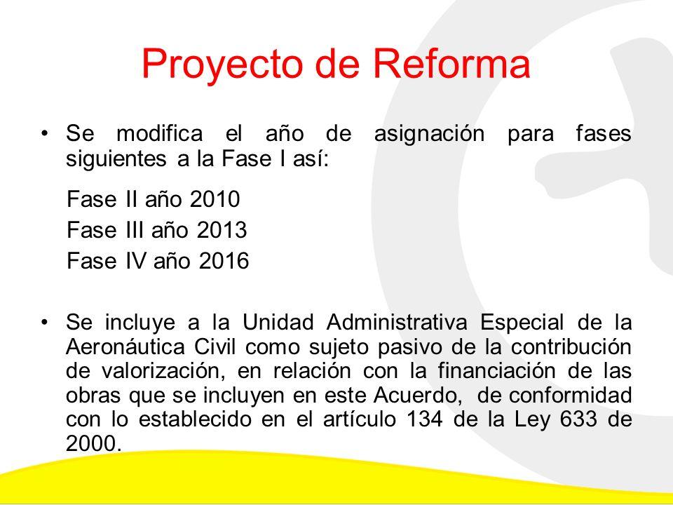 Proyecto de Reforma Se modifica el año de asignación para fases siguientes a la Fase I así: Fase II año 2010 Fase III año 2013 Fase IV año 2016 Se incluye a la Unidad Administrativa Especial de la Aeronáutica Civil como sujeto pasivo de la contribución de valorización, en relación con la financiación de las obras que se incluyen en este Acuerdo, de conformidad con lo establecido en el artículo 134 de la Ley 633 de 2000.