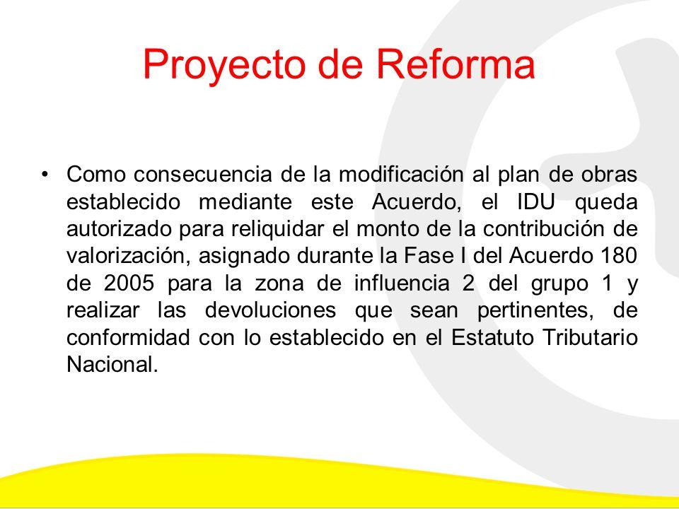 Proyecto de Reforma Como consecuencia de la modificación al plan de obras establecido mediante este Acuerdo, el IDU queda autorizado para reliquidar el monto de la contribución de valorización, asignado durante la Fase I del Acuerdo 180 de 2005 para la zona de influencia 2 del grupo 1 y realizar las devoluciones que sean pertinentes, de conformidad con lo establecido en el Estatuto Tributario Nacional.