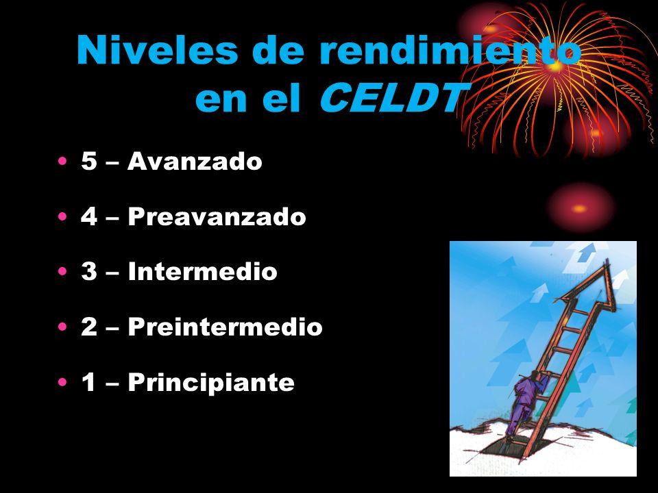 Niveles de rendimiento en el CELDT 5 – Avanzado 4 – Preavanzado 3 – Intermedio 2 – Preintermedio 1 – Principiante