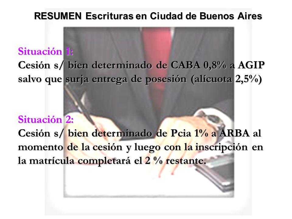 Situación 1: Cesión s/ bien determinado de CABA 0,8% a AGIP salvo que surja entrega de posesión (alícuota 2,5%) Situación 2: Cesión s/ bien determinad