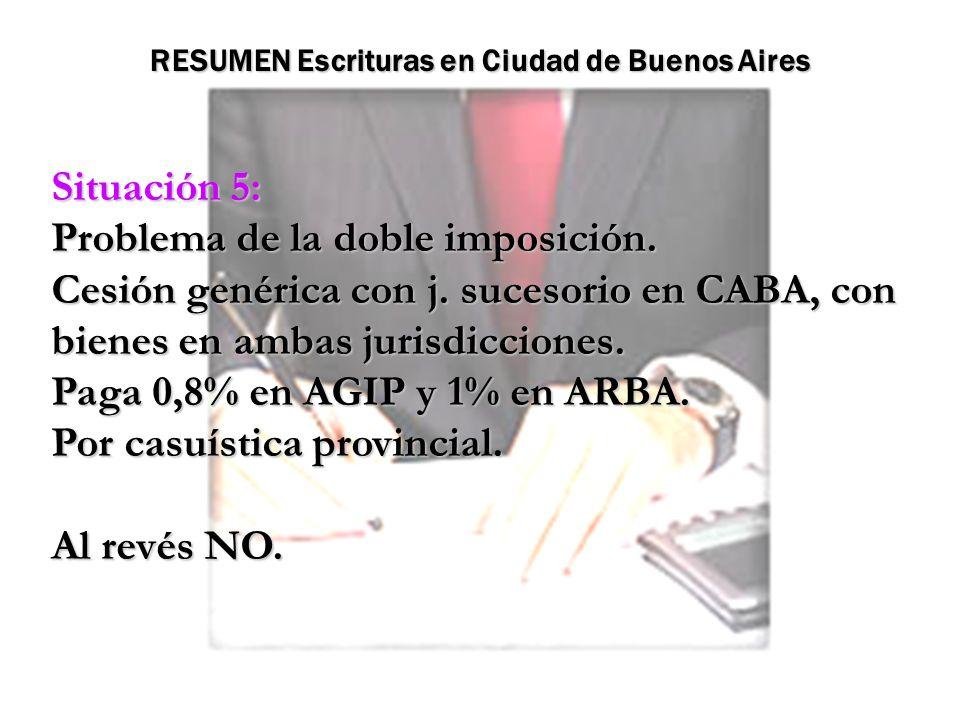 Situación 5: Problema de la doble imposición. Cesión genérica con j. sucesorio en CABA, con bienes en ambas jurisdicciones. Paga 0,8% en AGIP y 1% en
