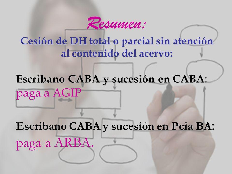 Resumen: Cesión de DH total o parcial sin atención al contenido del acervo: Escribano CABA y sucesión en CABA Escribano CABA y sucesión en CABA : paga