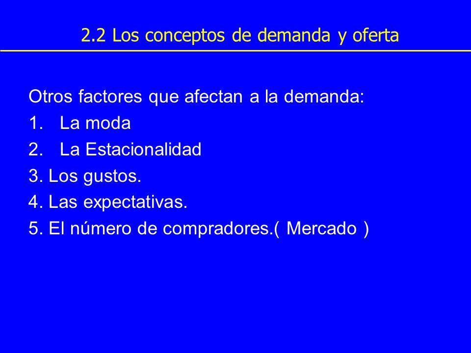 Otros factores que afectan a la demanda: 1.La moda 2.La Estacionalidad 3. Los gustos. 4. Las expectativas. 5. El número de compradores.( Mercado ) 2.2