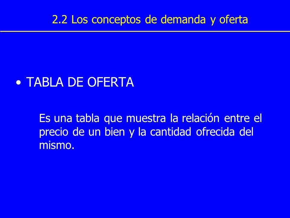 TABLA DE OFERTA Es una tabla que muestra la relación entre el precio de un bien y la cantidad ofrecida del mismo. 2.2 Los conceptos de demanda y ofert