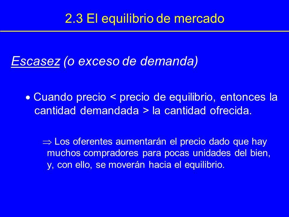 2.3 El equilibrio de mercado Escasez (o exceso de demanda) Cuando precio la cantidad ofrecida. Los oferentes aumentarán el precio dado que hay muchos