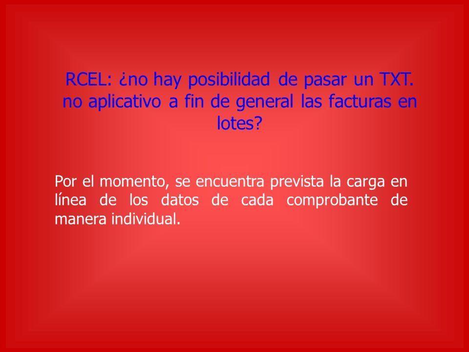 RCEL: ¿no hay posibilidad de pasar un TXT. no aplicativo a fin de general las facturas en lotes.
