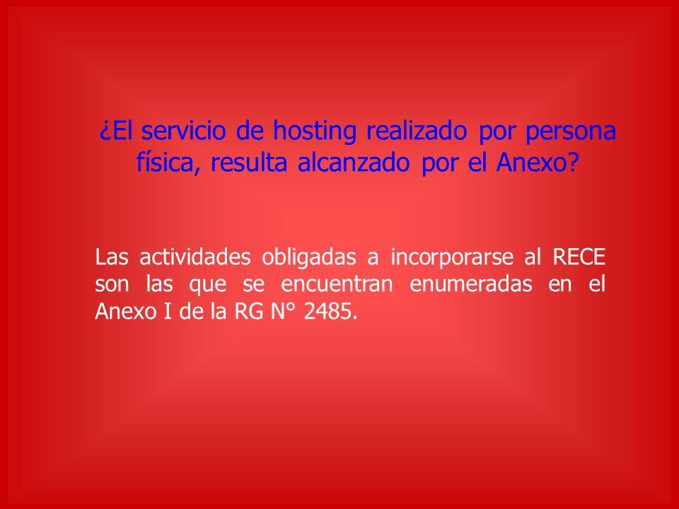 ¿El servicio de hosting realizado por persona física, resulta alcanzado por el Anexo.