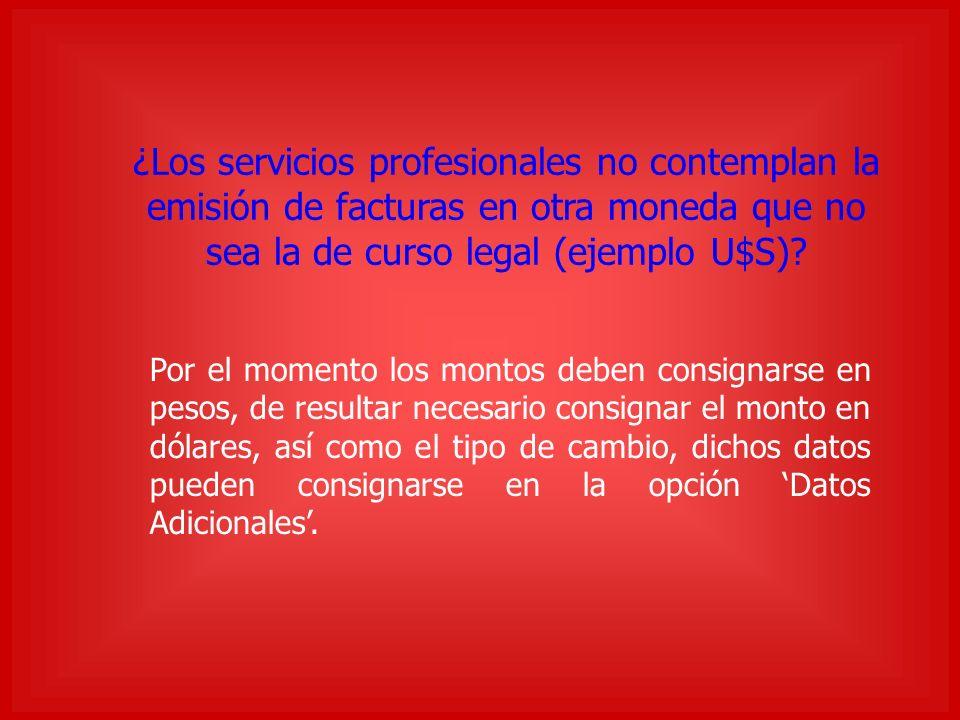¿Los servicios profesionales no contemplan la emisión de facturas en otra moneda que no sea la de curso legal (ejemplo U$S).