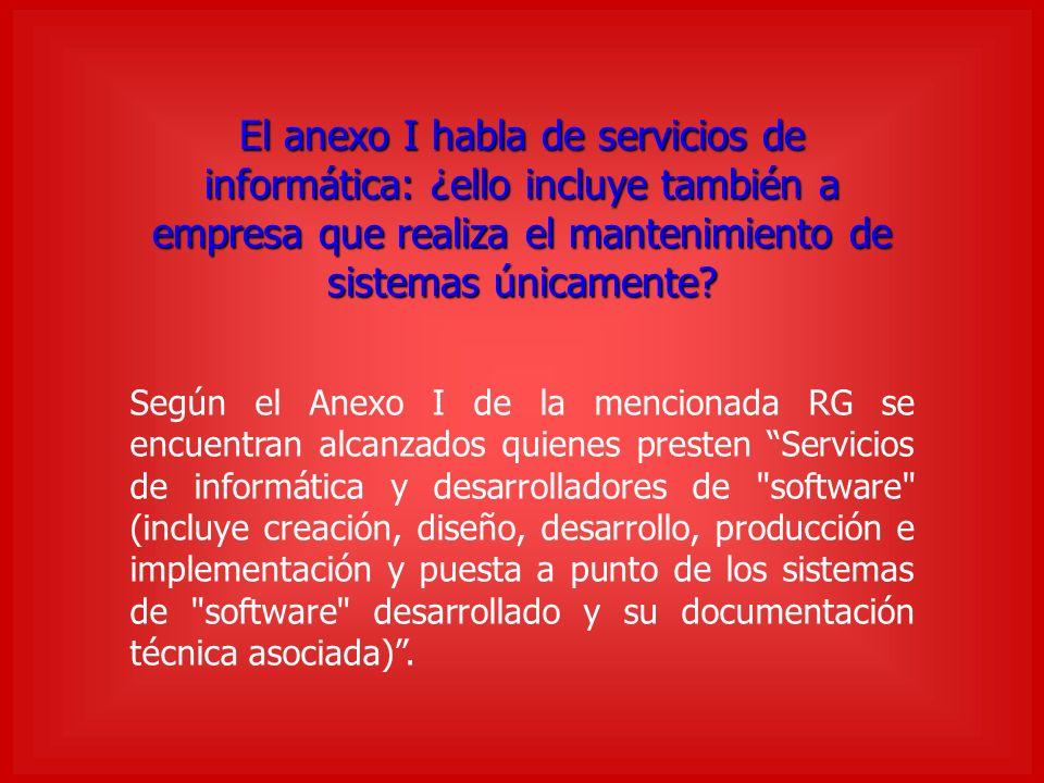 El anexo I habla de servicios de informática: ¿ello incluye también a empresa que realiza el mantenimiento de sistemas únicamente.