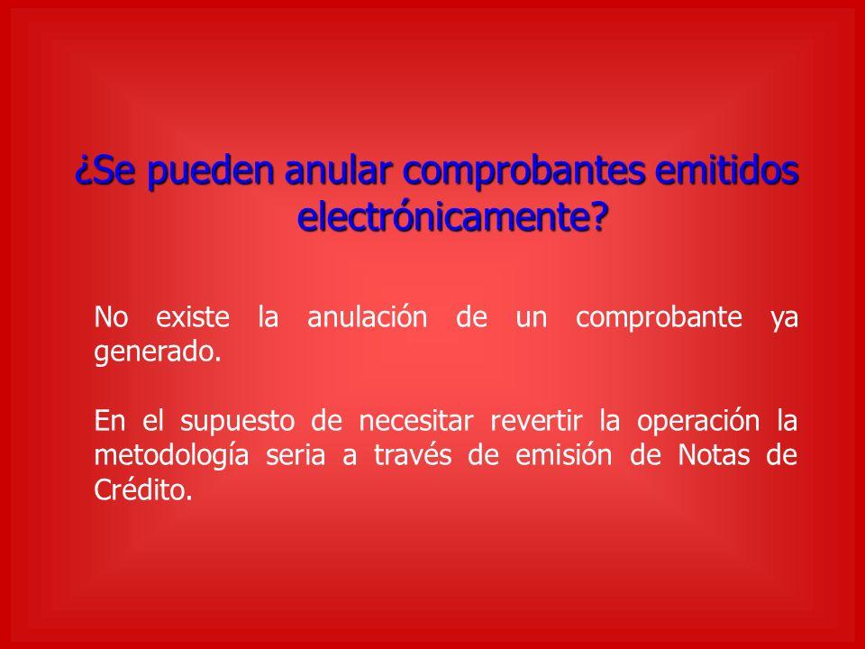 ¿Se pueden anular comprobantes emitidos electrónicamente.