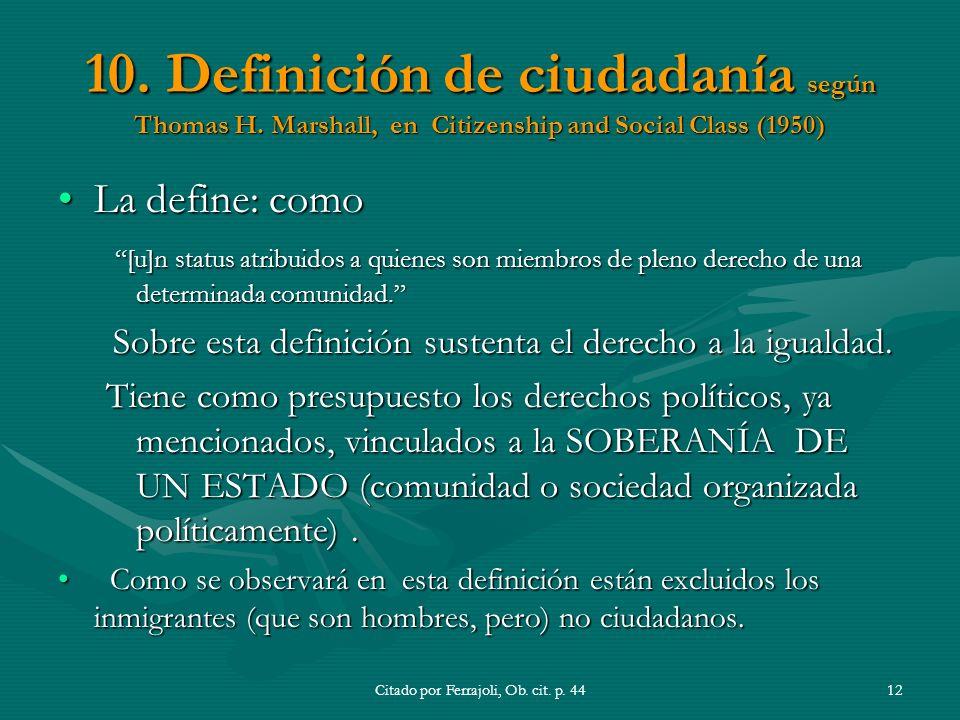 10.Definición de ciudadanía según Thomas H.