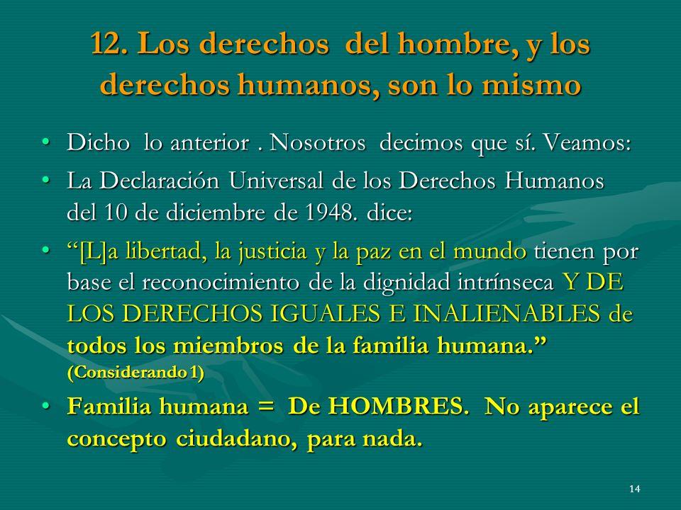 12.Los derechos del hombre, y los derechos humanos, son lo mismo Dicho lo anterior.