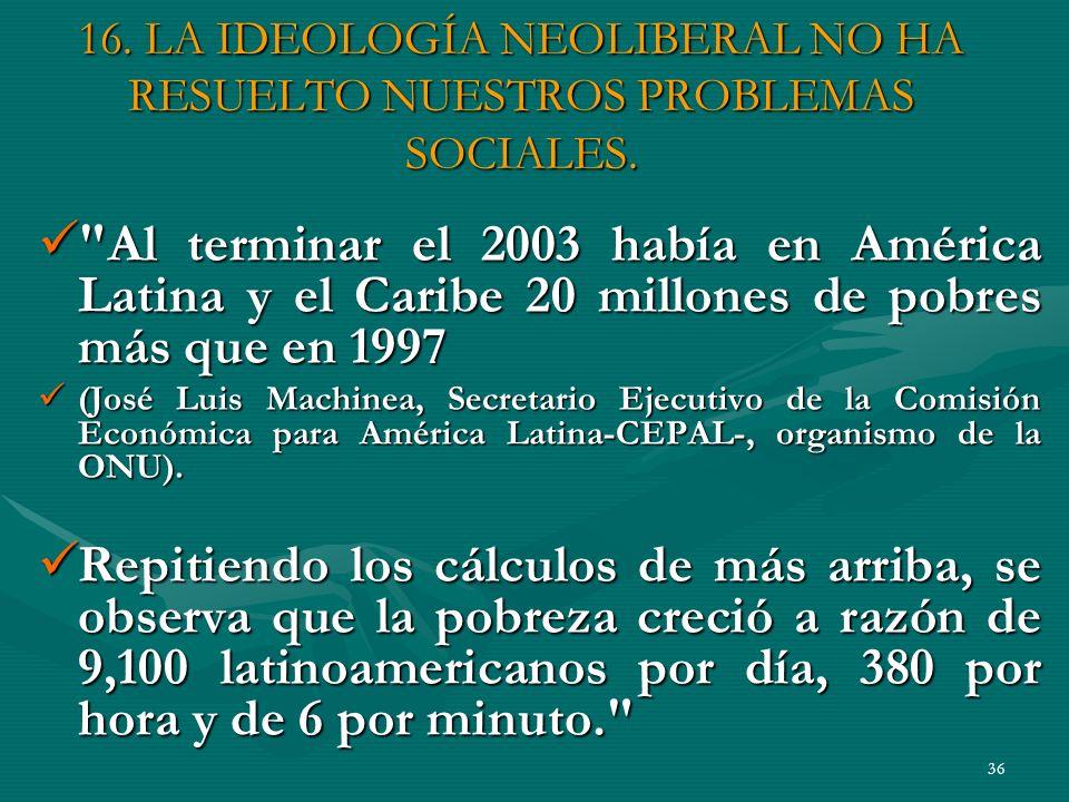 36 16.LA IDEOLOGÍA NEOLIBERAL NO HA RESUELTO NUESTROS PROBLEMAS SOCIALES.