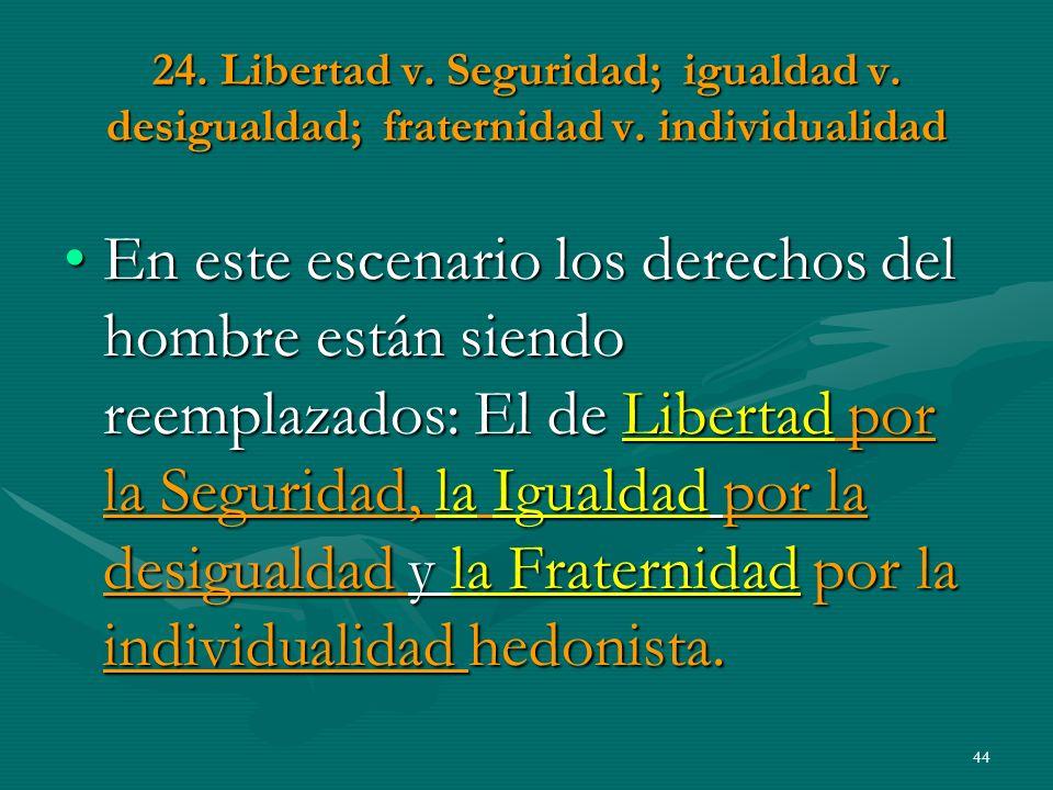 24.Libertad v. Seguridad; igualdad v. desigualdad; fraternidad v.