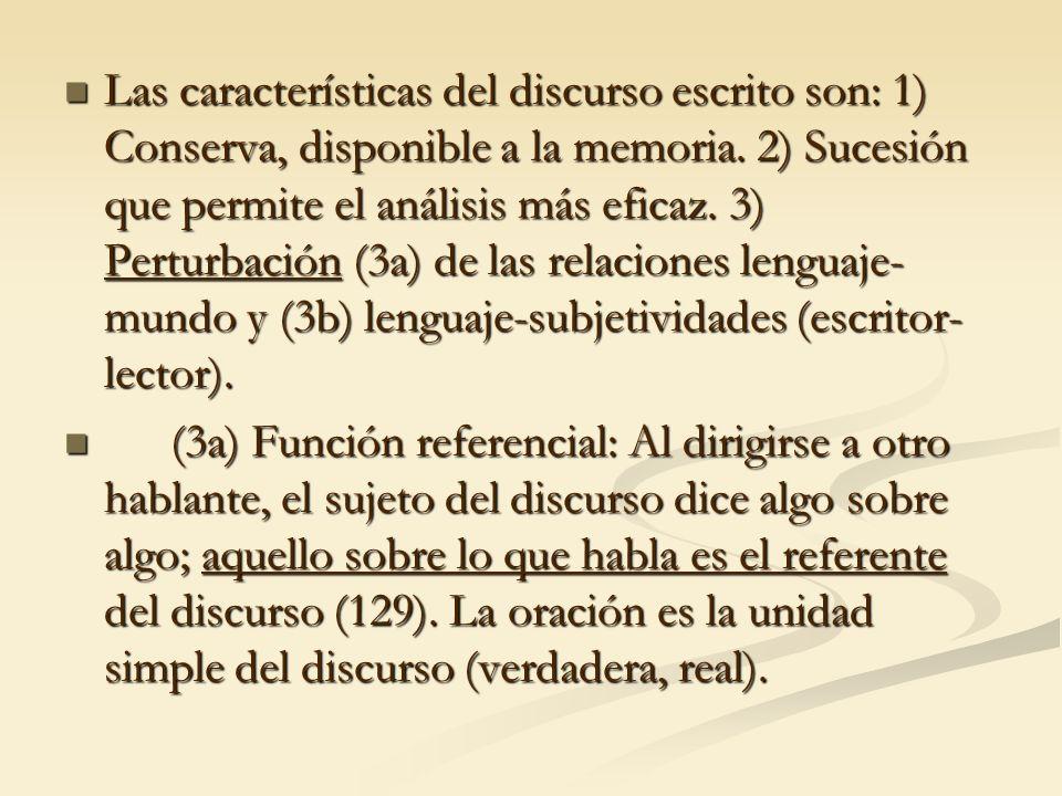 Las características del discurso escrito son: 1) Conserva, disponible a la memoria. 2) Sucesión que permite el análisis más eficaz. 3) Perturbación (3