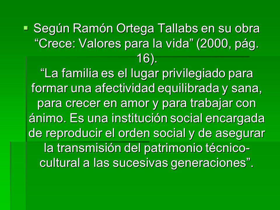 Según Ramón Ortega Tallabs en su obra Crece: Valores para la vida (2000, pág.