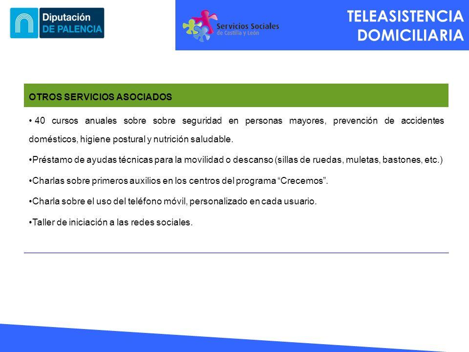 TELEASISTENCIA DOMICILIARIA OTROS SERVICIOS ASOCIADOS 40 cursos anuales sobre sobre seguridad en personas mayores, prevención de accidentes domésticos