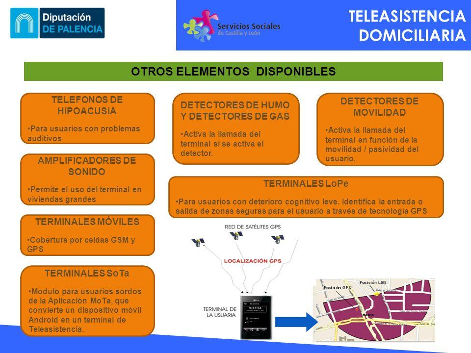 TELEASISTENCIA DOMICILIARIA OTROS ELEMENTOS DISPONIBLES TELEFONOS DE HIPOACUSIA Para usuarios con problemas auditivos AMPLIFICADORES DE SONIDO Permite