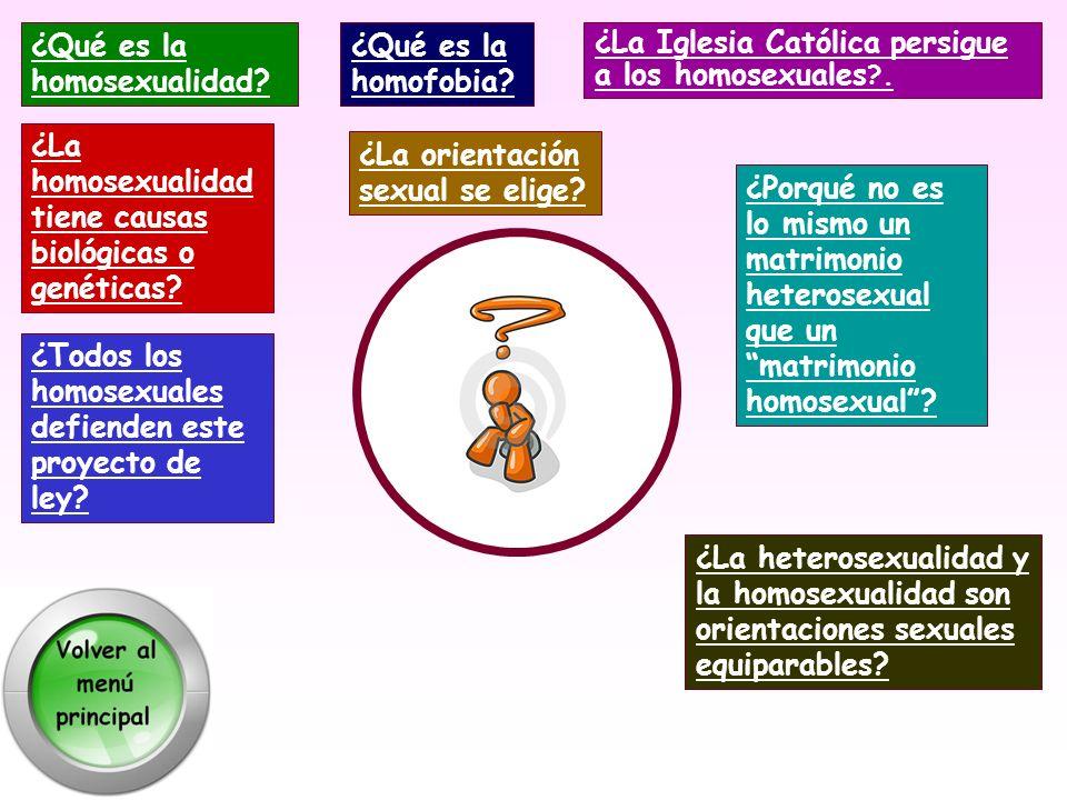 ¿La Iglesia Católica persigue a los homosexuales ?. ¿La heterosexualidad y la homosexualidad son orientaciones sexuales equiparables? ¿Todos los homos