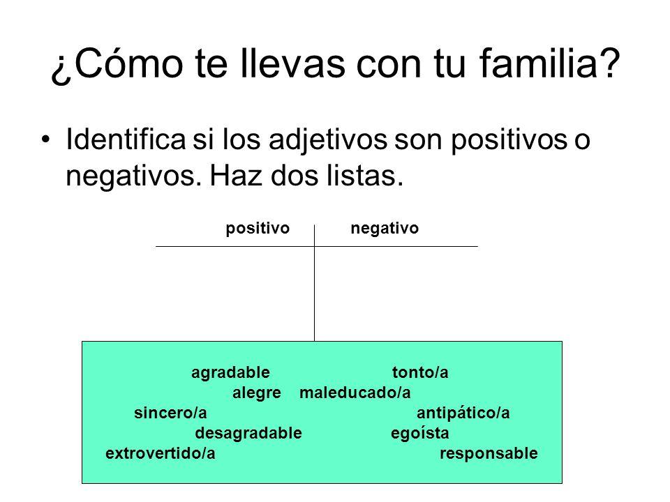 ¿Cómo te llevas con tu familia? Identifica si los adjetivos son positivos o negativos. Haz dos listas. positivo negativo agradable tonto/a alegremaled