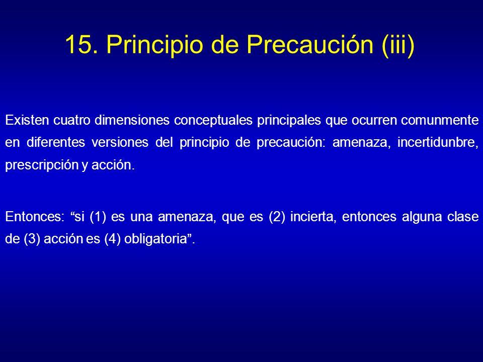 15. Principio de Precaución (iii) Existen cuatro dimensiones conceptuales principales que ocurren comunmente en diferentes versiones del principio de