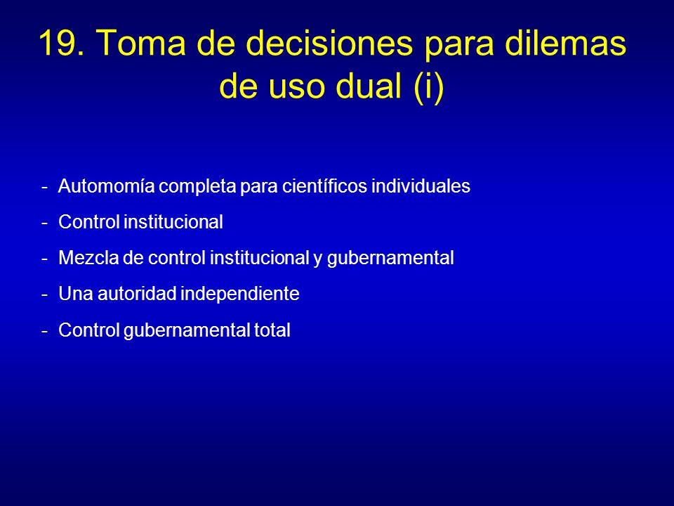 19. Toma de decisiones para dilemas de uso dual (i) - Automomía completa para científicos individuales - Control institucional - Mezcla de control ins