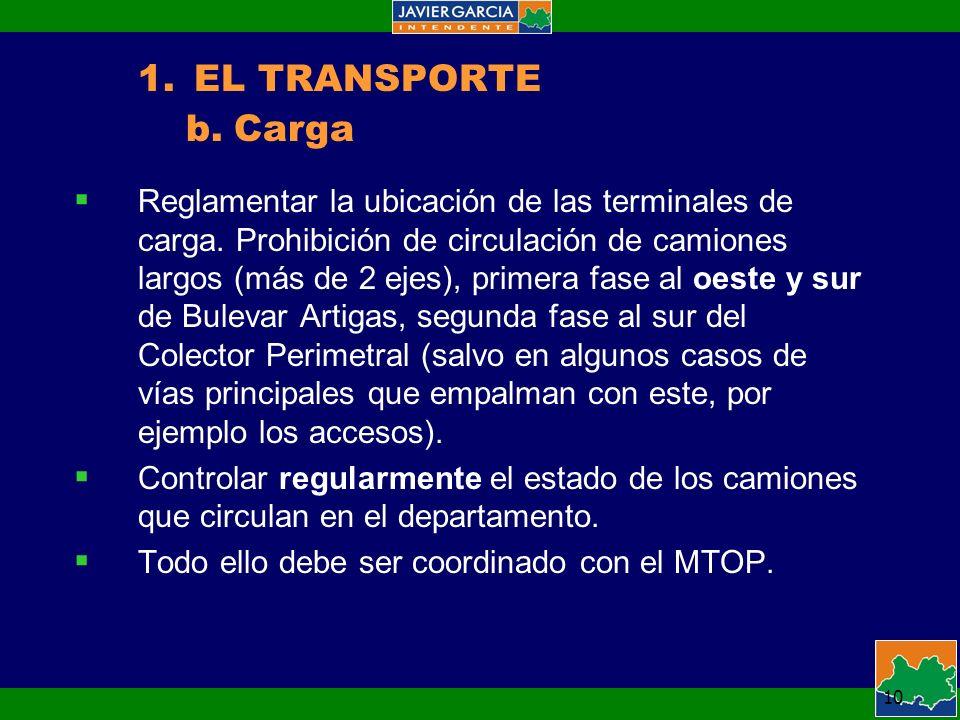 10 Reglamentar la ubicación de las terminales de carga.