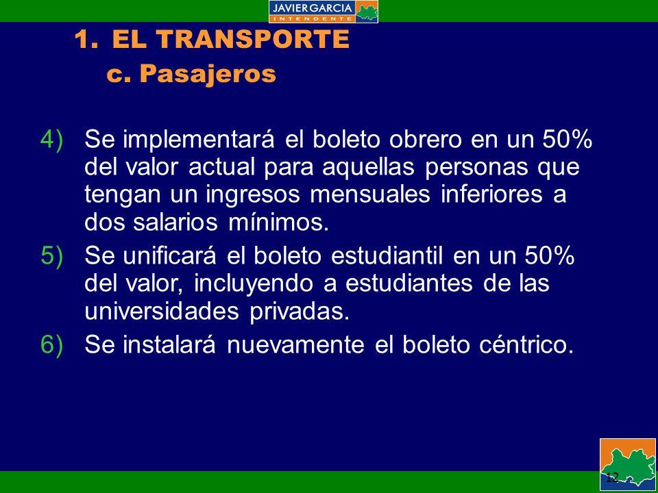 12 1.EL TRANSPORTE c.Pasajeros 4)Se implementará el boleto obrero en un 50% del valor actual para aquellas personas que tengan un ingresos mensuales inferiores a dos salarios mínimos.