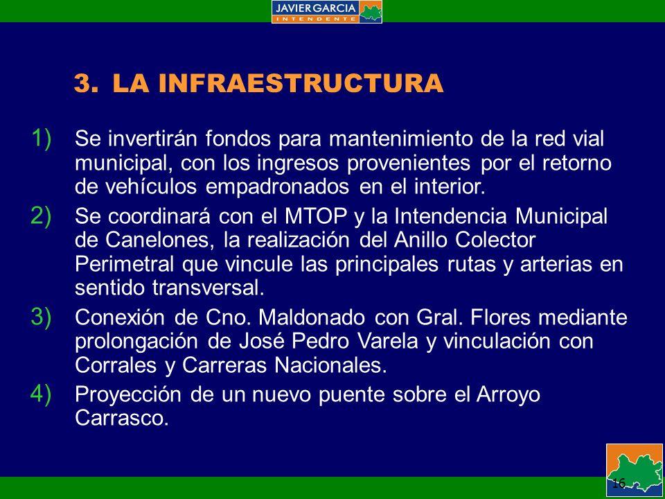 16 3.LA INFRAESTRUCTURA 1) Se invertirán fondos para mantenimiento de la red vial municipal, con los ingresos provenientes por el retorno de vehículos empadronados en el interior.