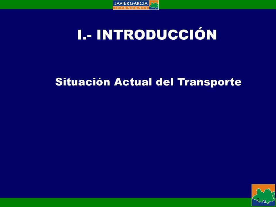 2 I.- INTRODUCCIÓN Situación Actual del Transporte