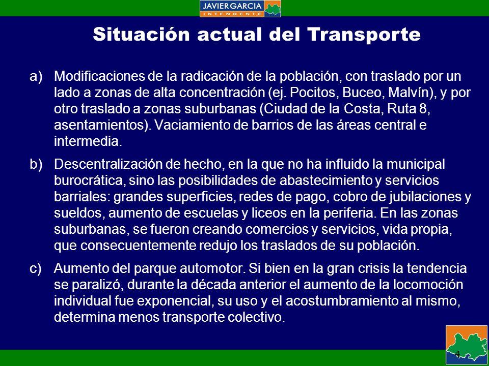 4 Situación actual del Transporte a) Modificaciones de la radicación de la población, con traslado por un lado a zonas de alta concentración (ej.