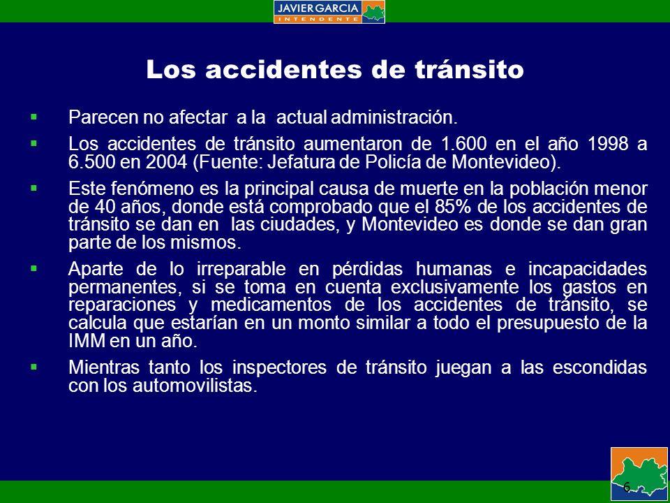 6 Los accidentes de tránsito Parecen no afectar a la actual administración.