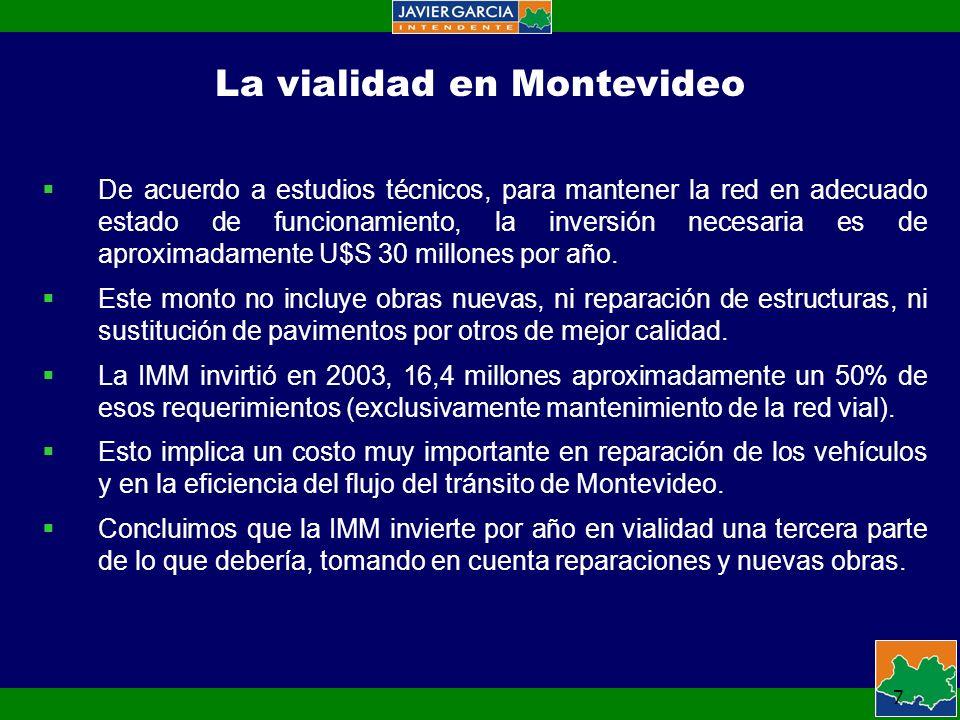 7 La vialidad en Montevideo De acuerdo a estudios técnicos, para mantener la red en adecuado estado de funcionamiento, la inversión necesaria es de aproximadamente U$S 30 millones por año.
