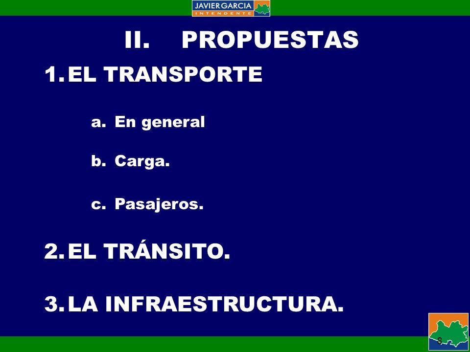 8 II.PROPUESTAS 1.EL TRANSPORTE a.En general b.Carga.
