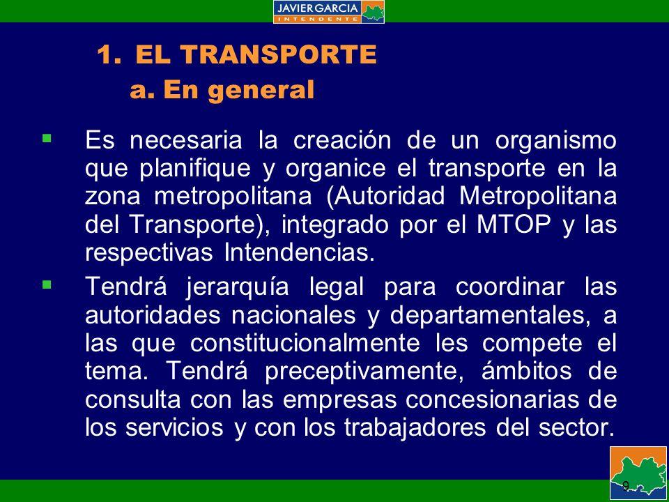 9 Es necesaria la creación de un organismo que planifique y organice el transporte en la zona metropolitana (Autoridad Metropolitana del Transporte), integrado por el MTOP y las respectivas Intendencias.