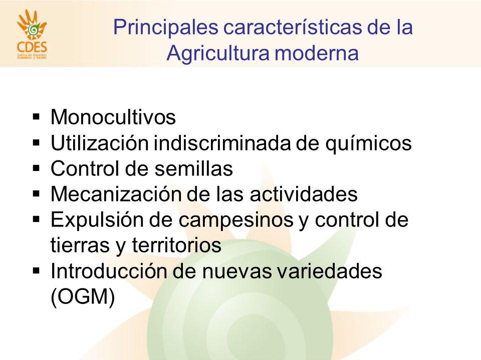 Principales características de la Agricultura moderna Monocultivos Utilización indiscriminada de químicos Control de semillas Mecanización de las actividades Expulsión de campesinos y control de tierras y territorios Introducción de nuevas variedades (OGM)