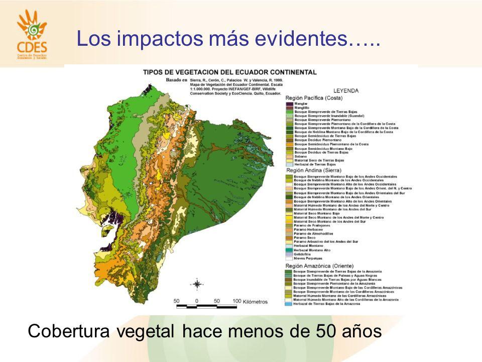 Los impactos más evidentes….. Cobertura vegetal hace menos de 50 años