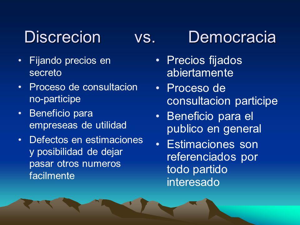 Discrecion vs. Democracia Fijando precios en secreto Proceso de consultacion no-participe Beneficio para empreseas de utilidad Defectos en estimacione