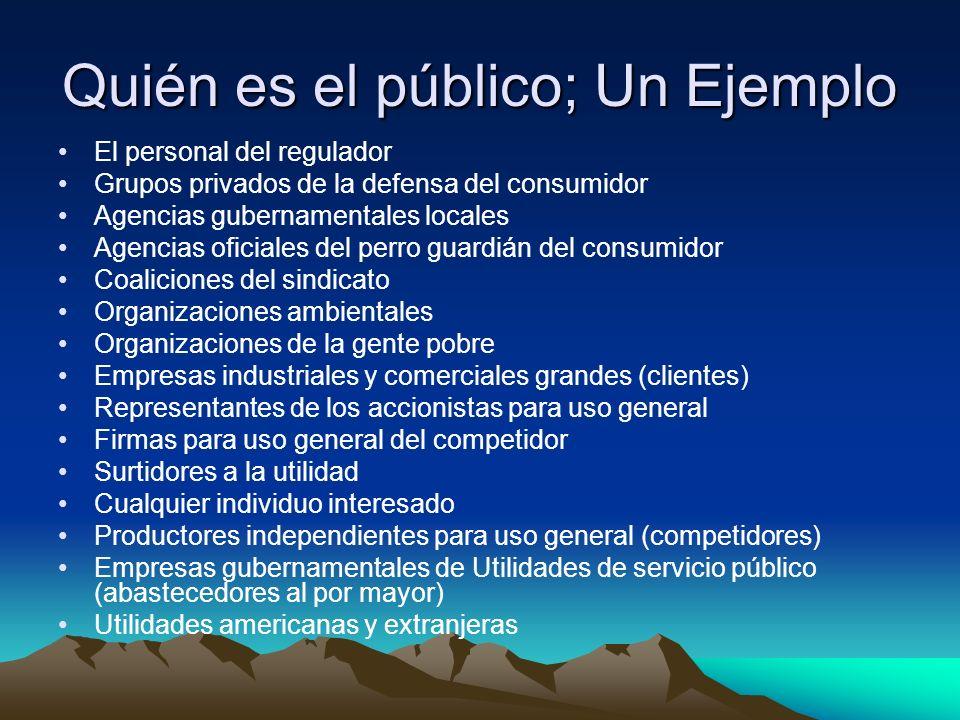 Quién es el público; Un Ejemplo El personal del regulador Grupos privados de la defensa del consumidor Agencias gubernamentales locales Agencias ofici
