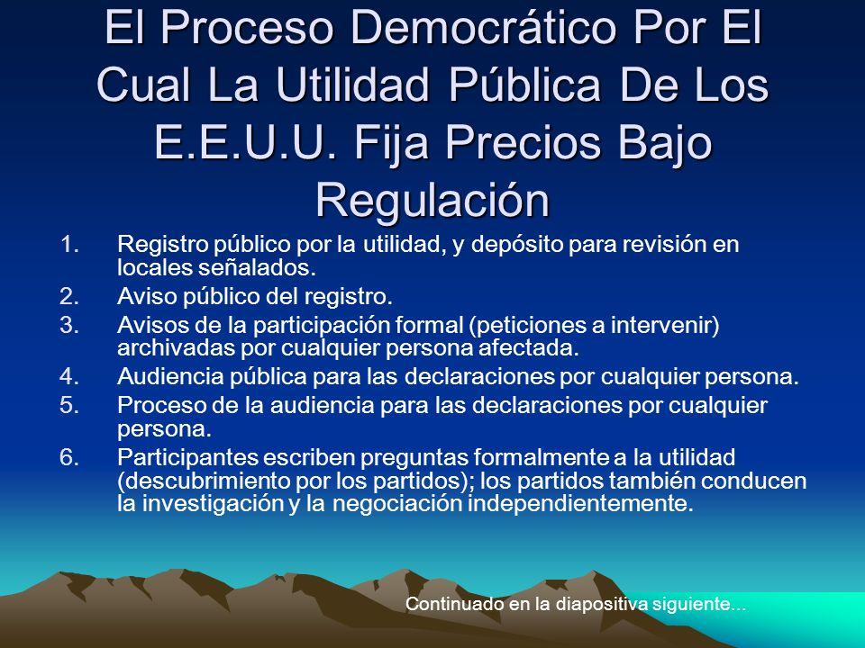 El Proceso Democrático Por El Cual La Utilidad Pública De Los E.E.U.U. Fija Precios Bajo Regulación 1.Registro público por la utilidad, y depósito par
