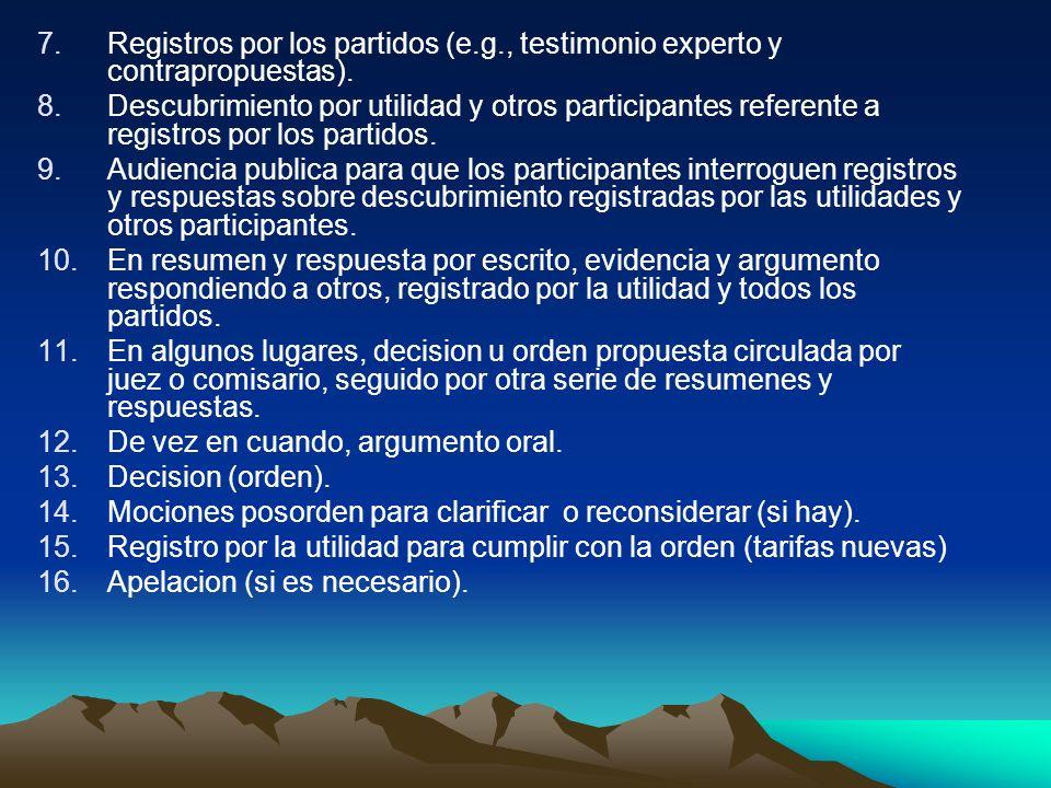 7.Registros por los partidos (e.g., testimonio experto y contrapropuestas). 8.Descubrimiento por utilidad y otros participantes referente a registros