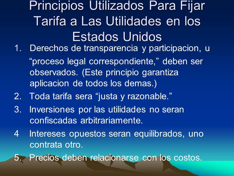 Principios Utilizados Para Fijar Tarifa a Las Utilidades en los Estados Unidos 1.Derechos de transparencia y participacion, u proceso legal correspondiente, deben ser observados.