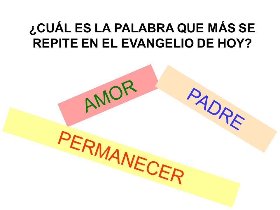 ¿CUÁL ES LA PALABRA QUE MÁS SE REPITE EN EL EVANGELIO DE HOY? AMOR PERMANECER PADRE