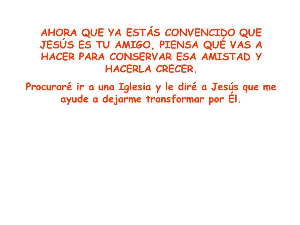 AHORA QUE YA ESTÁS CONVENCIDO QUE JESÚS ES TU AMIGO, PIENSA QUÉ VAS A HACER PARA CONSERVAR ESA AMISTAD Y HACERLA CRECER. Procuraré ir a una Iglesia y